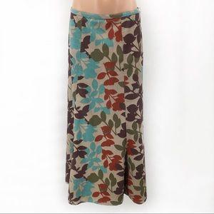 Boden Floral Print Long Corduroy Skirt